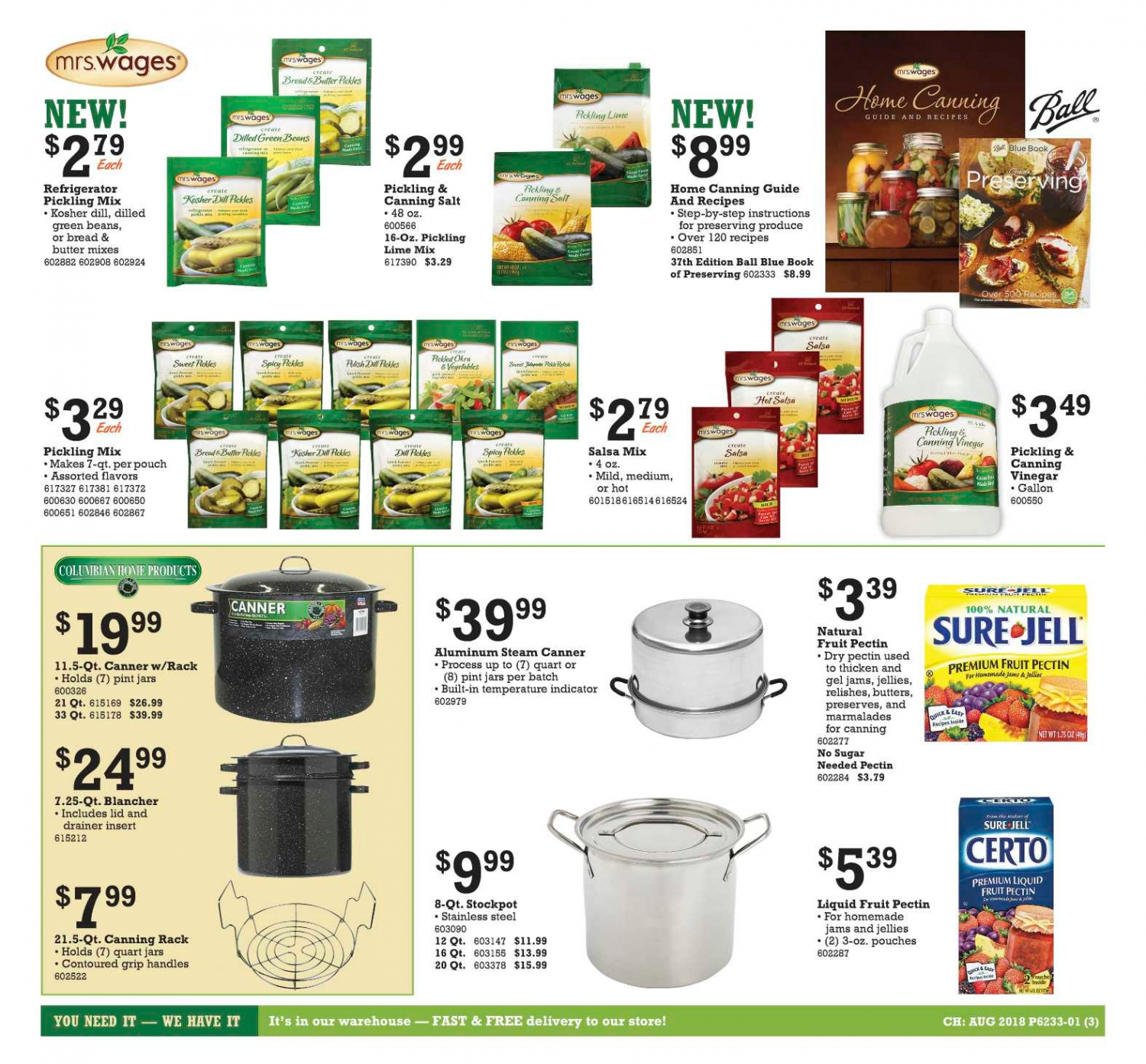 Canning items on sale